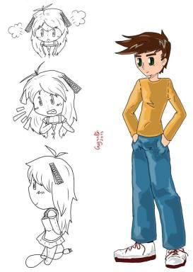 Prove di disegno per Lhyà in varie pose e per un secondo personaggio in uno stile diverso dal solito...